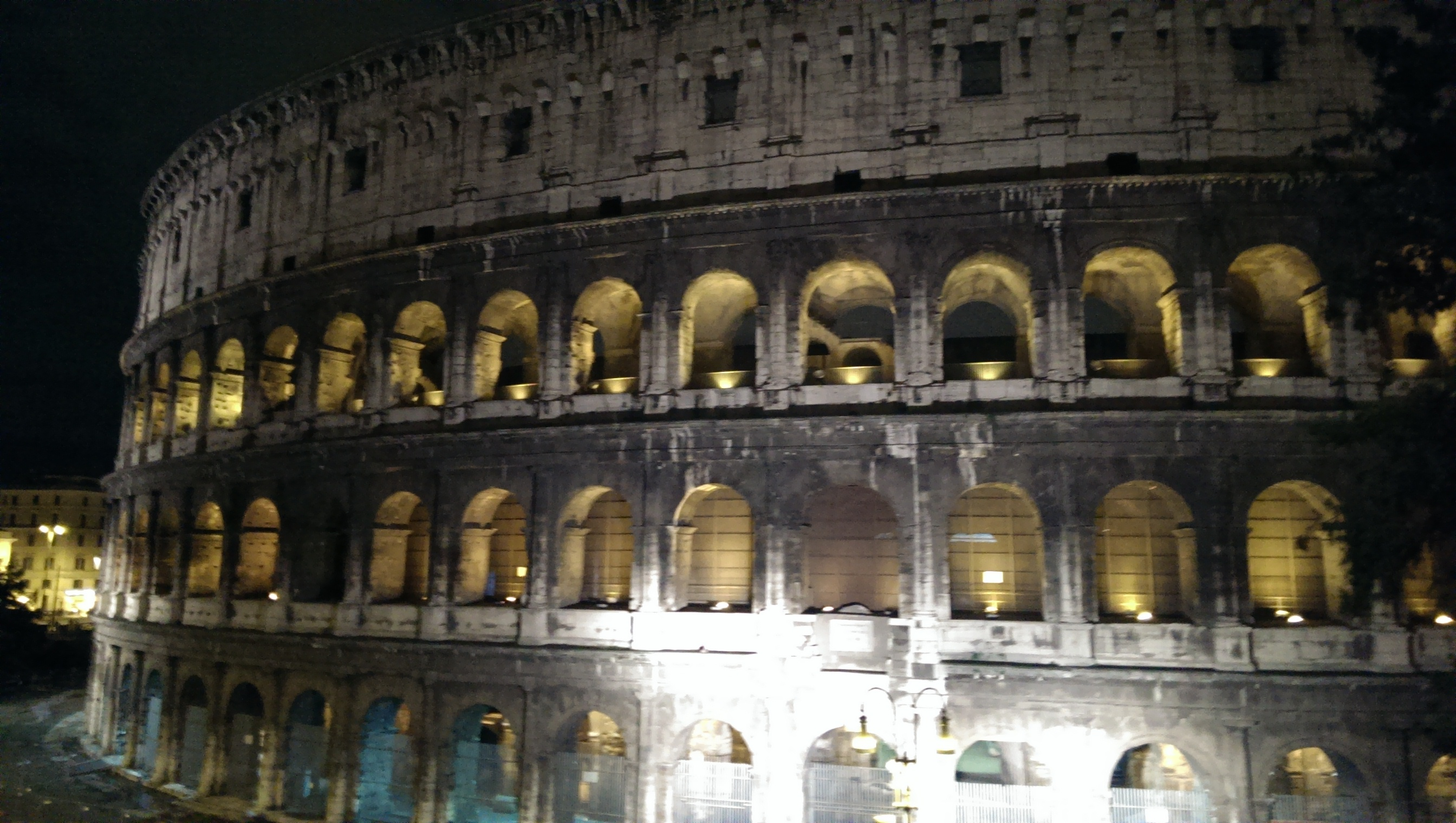 Nightime shot of the Colosseum