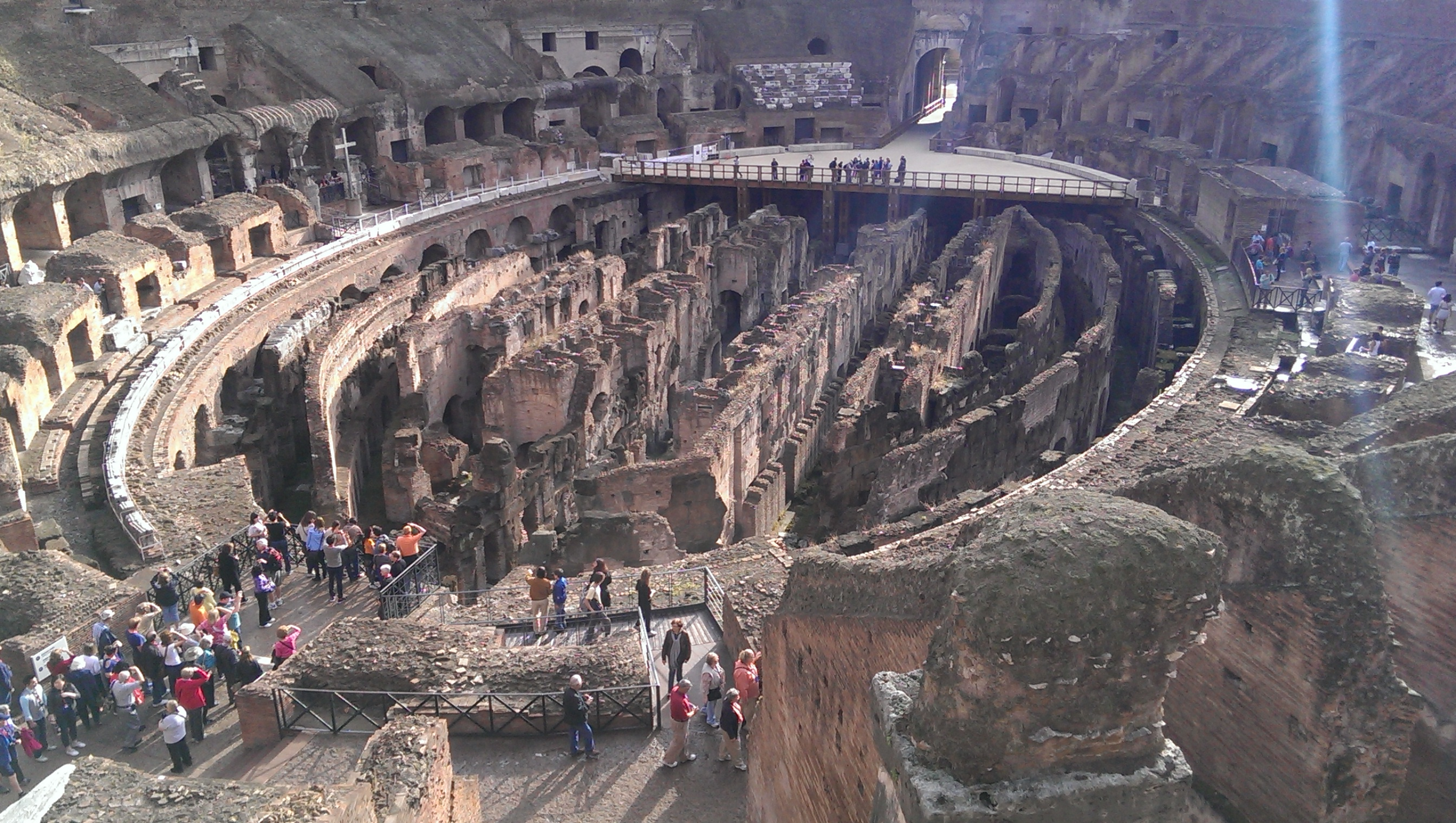 Under the ground of the Colosseum with all the trap doors